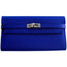 Pre-Owned Hermes Blue Electric Epsom Kelly Long Wallet PHW ($4,950) ❤ liked on Polyvore featuring bags, handbags, clutches, blue, evening handbags, blue handbags, blue leather handbag, leather purse and blue clutches