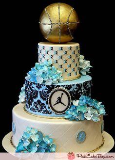 Bat Mitzvah Basketball Themed Cake By Pink Cake Box Wedding Cakes & Teen Cakes, Girl Cakes, Cake Girls, Beautiful Cakes, Amazing Cakes, Jordan Cake, Pink Cake Box, Birthday Cakes For Teens, Cake Birthday