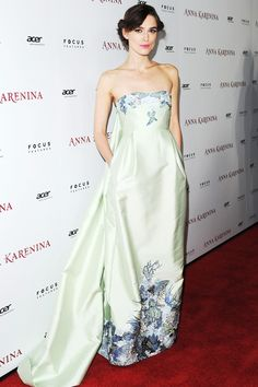 To attend the LA premiere of Anna Karenina, Keira Knightley wore a bespoke Erdem gown - adapted from a dress in the designer's spring/summer 2013 collection.