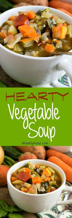 Hearty Vegetable Soup - Deliciously filling, this fantastic flavorful soup will fit into any healthy eating plan!
