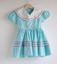 vintage gingham sailor dress