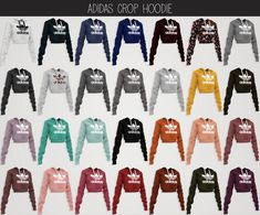 """elliesimple: """" elliesimple - adidas collection part 1 adidas crop hoodie: • original mesh • 28 swatches • morphs • hq compatible • terms of use download (wix - simsdom) -> or ad free on..."""
