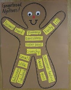 Free gingerbread unit ideas from the blog babbling abby. I love the gingerbread adjectives.