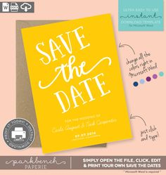 save the date printable template for microsoft word carla style yellow marigold diy