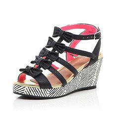 7250b7a3806bb3 Girls black bow printed wedge sandals  44.00 Fashion Forever