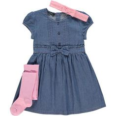 George UK Baby Toddler Girl Fashion Dress, Leggings and Headband Outfit Set