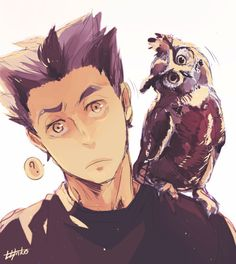 Omg imagine bokuto getting an owl that sits on his shoulder and copies all his head movements
