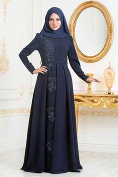 NEVA STYLE - NAVY BLUE HIJAB EVENING DRESS 36201L Hijab Evening Dress, Blue Evening Gowns, Evening Dresses, Hijab Style Dress, Abaya Style, Dress Suits, I Dress, Abaya Fashion, Women's Fashion