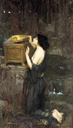 Pandora by John William Waterhouse. The deterioration of the physical paint adds a layer of complexity as the dark background contrasts with the gold of the chest and the porcelain skin of Pandora in the foreground.