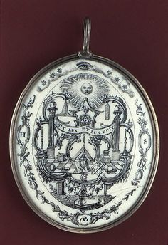"1758 British Pendant at the Metropolitan Museum of Art, New York - This pendant stood out to me because of the images and inscriptions on it. A bit of research revealed that these were actually Masonic symbols - for instance, the inscription ""Sit lux et lux fiat"" is a Masonic motto translating as ""Let there be light and there was light"". Freemasonry had existed prior to the 18th century, but it really reached its heyday at this point - and appeared hand-in-hand with the Enlightenment."