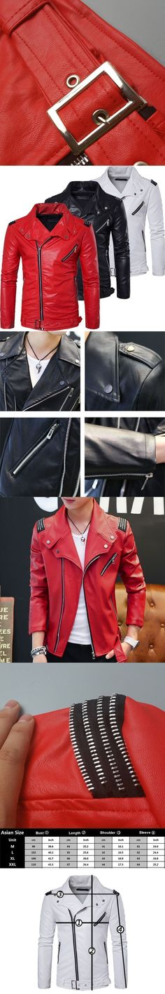 47809c6832825 Top Quality Soft PU Multi Zipper White Red Leather Jacket Men Motorcycle  Slim Fit Male Biker