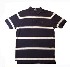 Ralph Lauren polo sport shirt mens striped 100% cotton size L logo #RalphLauren #PoloRugby #tshirt #polo #shirt