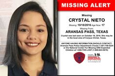 CRYSTAL NIETO, Age Now: 17, Missing: 10/18/2016. Missing From ARANSAS PASS, TX. ANYONE HAVING INFORMATION SHOULD CONTACT: Aransas Pass Police Department (Texas) 1-361-758-5224.