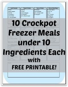 Crockpot Freezer Cooking