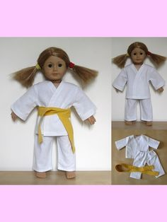 """18"""" American Girl Doll clothes sewing patterns to download - KARATE OUTFIT"""