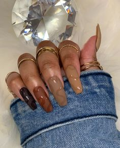 Brown Acrylic Nails, Best Acrylic Nails, Coffin Ombre Nails, Brown Nail Art, Brown Nails, Chic Nails, Swag Nails, Fancy Nails, Pretty Nails