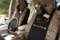 94.00$  Watch here - http://alih6s.worldwells.pw/go.php?t=2004708818 - 18pcs Universal Car Covers Leopard Cartoon Universal Hello Kitty Car Seat Covers Universal Car interior Accessories 94.00$