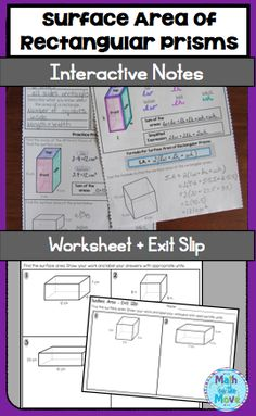 Notes, worksheet and an exit slip! Everything you need to discover and practice using the formula for surface area of rectangular prisms! Math Resources, Math Activities, Learn Watercolor Painting, Math Lab, Secondary Math, Math Workshop, Surface Area, Math Lessons, 3 D