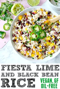Fiesta Lime and Black Bean Rice. VEGAN, GF, OIL-FREE. Crunchy, spicy, full of lime flavor and absolutely delicious, similar to a bowl at Chipotle! From The Glowing Fridge.
