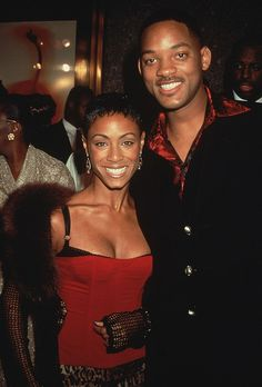 Married American actors Jada Pinkett and Will Smith posing together. Prince Of Bel Air, Fresh Prince, Jada Pinkett Smith, Leopard Print Skirt, Satin Shirt, Black Suits, Jaba, American Actors, Will Smith
