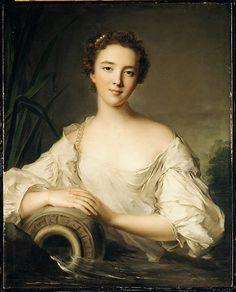 Louise Henriette de Bourbon-Conti (1726–1759), Duchesse d'Orléans, 1744, by Jean Marc Nattier (French, Paris 1685–1766 Paris). The only daughter of Louis Armand II de Bourbon, prince de Conti, & of Louise Élisabeth, daughter of Louis III de Bourbon, prince de Condé. She married in 1743 Louis Philippe (1725–1785), becoming duchesse de Chartres, and in 1752 duchesse d'Orléans, & she was the mother of Philippe Égalité (1747–1793) & grandmother of Louis Philippe (1773–1850), the last king of…