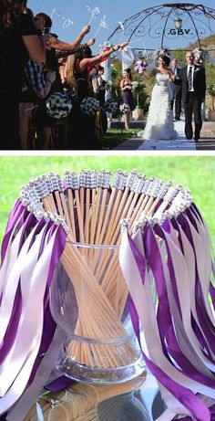 ribbon wands for your wedding send off - Unique wedding send off ideas! Create your dream and meet industry experts at the upcoming show in Denver January Vintage Wedding Favors, Best Wedding Favors, Diy Wedding, Wedding Ceremony, Dream Wedding, Wedding Ideas, Wedding Ribbon Wands, Wedding Send Off, Purple Wedding