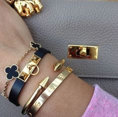 cartier How To Stack Bracelets Like A Pro Classic bracelet stack Bracelet Cartier, Hermes Bracelet, Cartier Jewelry, Hermes Jewelry, Cute Jewelry, Jewelry Accessories, Fashion Accessories, Jewelry Design, Fashion Jewelry