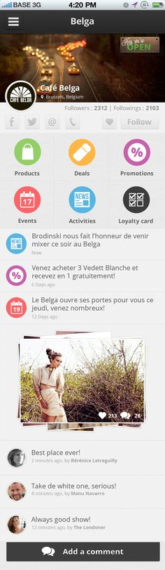 """YounameIT by JulienH - """"This is a merchant profile page, basically you have some information about the merchant and I try to create some useful quick access. I create something clean and soft with some colors. It's an application in dev for IOS and Android, feel free to tell me what are you thinking about it."""""""