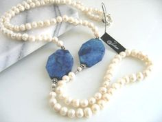 Julleen Pearl Jewellery Designs - Carla Long Pearl and Lapis Necklace Long Pearl Necklaces, Pearl Jewelry, Gemstone Jewelry, Pearl And Lace, Pearl White, Stone Necklace, Tassel Necklace, On Your Wedding Day, Color Themes