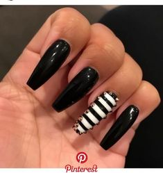 "If you're unfamiliar with nail trends and you hear the words ""coffin nails,"" what comes to mind? It's not nails with coffins drawn on them. Although, that would be a cute look for Halloween. It's long nails with a square tip, and the look has. Sexy Nails, Glam Nails, Hot Nails, Nails On Fleek, Beauty Nails, Hair And Nails, Fabulous Nails, Gorgeous Nails, Pretty Nails"