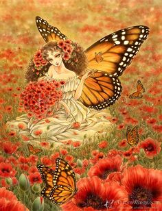 Free Shipping to US - Monarch Butterfly Fairy and Red Poppies Fantasy Art - Romanza - 8x10 Signed Fantasy Art Print - by Mitzi Sato-Wiuff on Etsy, $24.53 CAD
