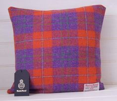 Tweed Cushion Cover Orange and Purple 'Harris by GreenCallow