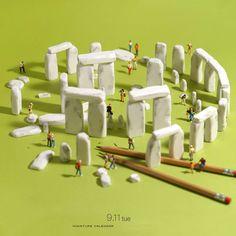 Miniature Art By Tatsuya Tanaka. Tatsuya Tanaka is a Japanese artist and Continue Reading and for more miniatures → View Website Miniature Calendar, Miniature Photography, Mini Craft, Tiny World, Mini Things, Arte Pop, People Art, Plastic Model Kits, Japanese Artists