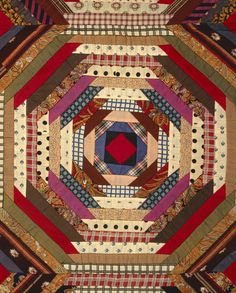 """heaveninawildflower: """" Quilt with 'Log Cabin' Pattern ('Pineapple' variation). United States, Pieced wool and cotton. Images and text courtesy LACMA. Log Cabin Quilt Pattern, Log Cabin Quilts, Quilt Block Patterns, Pattern Blocks, Quilt Blocks, Log Cabins, Pineapple Quilt Pattern, Pineapple Quilt Block, Antique Quilts"""