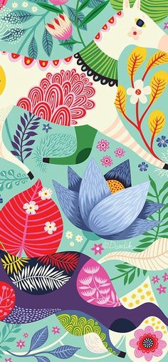 Helen Dardik, Illustration and Pattern Design, Textiles, Art, Vintage Foundations - Lalala - Hintergrundbilder Art And Illustration, Magazine Illustration, Floral Illustrations, Illustration Children, Pattern Illustration, Cute Wallpapers, Wallpaper Backgrounds, Iphone Wallpaper, Screen Wallpaper