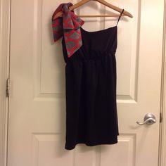 30% off bundles Black one shoulder dress w/  Black one shoulder dress with a red Polk-a-dot bow over the shoulder. Cinches at the waist. Size medium. Bundle to save! Judith March Dresses One Shoulder