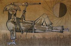 3565-Aldemir Martins, `Cangaceiro` - panneaux - nº 7/75 - dat. 1965 - 120 x 180…