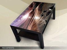 Modern Couchtisch Glastisch Beistelltisch Sofatisch sonnigen Strand 90x55 cm