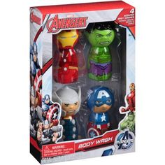 Marvel Avengers Body Wash Set, 4 count $5 Marvel Avengers Body Wash Set: Mango, grape, berry, apple Avengers initiative Each bottle has a different fruit scented body wash Ages 3+ <!-…
