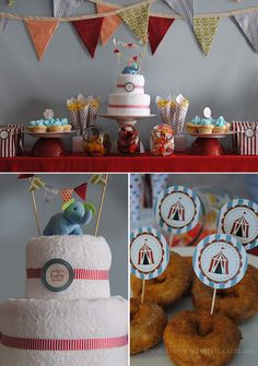 circus baby shower like that the cake centrepiece is made from towels and face towels it looks tidy. And a cute elephant on top.