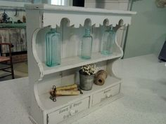 Simply sweet! Chalk paint, graphics and some favorite vintage pieces make a statement in any room!  https://www.facebook.com/mariassalvagedtreasures?ref=hl