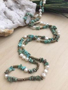 Long Boho Necklace Freshwater Pearls Handknotted with Blue Jewelry For Her, Beach Jewelry, Wire Jewelry, Boho Jewelry, Jewelry Crafts, Jewelery, Jewelry Necklaces, Handmade Jewelry, Jewelry Design
