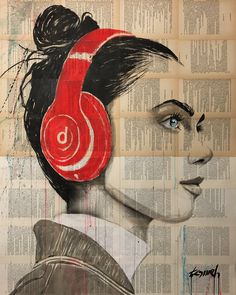 Artwork by hussein tomeh . ink ,acrylic and gouache drawing on archaic book pages. Newspaper Art, Music Drawings, Pop Art Girl, Alphonse Mucha, Paper Artist, Figurative Art, Gouache, Book Covers, Buy Art