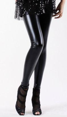 9953c693113 Stylish Shiny Patent PU Leather Leggings -  17 Black Leggings