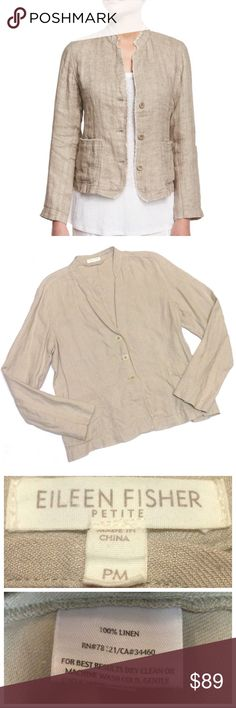 7c5ba08f42 Eileen Fisher Linen Button-Up Raw-Hem Jacket Tan Brand  Eileen Fisher Size
