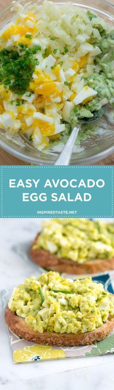 Our avocado egg salad recipe is very simple, all you need to do is mash avocado with a tiny bit of mayonnaise then stir in chopped eggs, celery, lemon juice and herbs. You could even swap nonfat or low-fat yogurt for the mayonnaise (sour cream works, too). Recipe on inspiredtaste.net   @inspiredtaste
