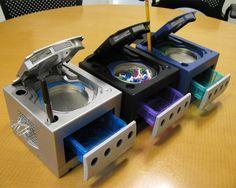 Gamecube desktop organizer.  How cool!