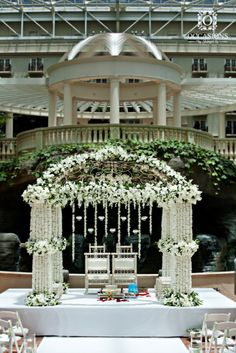 White Floral Indian Wedding Mandap Event Decorators: Occasions By Shangri-la Indian Wedding Flowers, India Wedding, Indian Wedding Decorations, Ceremony Decorations, Ethnic Wedding, Wedding Mandap, Wedding Stage, Wedding Day, Desi Wedding