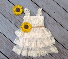 Sunflower Flower Girl Dress! Embellished Big Fabric Shabby Chic Sunflowers on jute sash! Matching Hairpiece is also Included! Dress is available