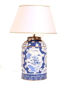 "Hand painted Tole Lamp with White Shade. Also comes with Black Shade. 30"" high Available now!"